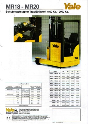 Reachtrucks Yale MR 20