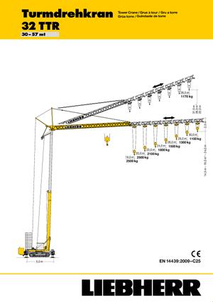 Vrachtwagentorenkraan - Trolley-arm - Onder draaiend Liebherr 32 TTR (FU)